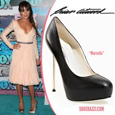 """Lea Michele in Brian Atwood """"Marcella"""" Platform Pumps at the Fox All-Star Party held at the Soho house in West Hollywood"""