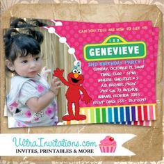 Are you looking for Elmo Sesame Street photo birthday invitations? Our website will custom create an invitation for you Create Invitations, Custom Invitations, Invitation Cards, Invites, Elmo Birthday Invitations, Elmo Sesame Street, Street Photo, Birthday Photos, Photo Cards