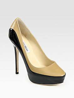 Jimmy Choo - Sepia Patent Leather Trimmed Pumps