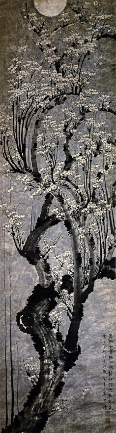 梅花圖 立軸 Plum Blossoms, hanging scroll Early Ming Dynasty (1368–1644) Tianjin Fine Art Museum  Chen Lu  陳錄