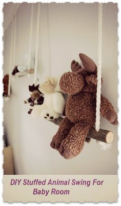 Adorable DIY Project for #babyroom Stuffed Animals. So cute. I love this. Great for a #babyboynursery.
