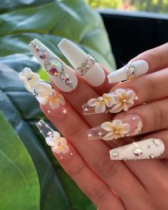 Nail art is the essence of decent beauty as nails speak volume about you. Traveled through the ancient tales of art and beauty, nail art now has become an ocean of more or less defined sense of self. Dope Nails, Bling Nails, Swag Nails, Sparkle Nails, Bling Bling, 3d Nail Designs, Cute Acrylic Nail Designs, Summer Acrylic Nails, Best Acrylic Nails