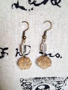 Vintage Button Earrings  One of a Kind OOAK by IndustrialWhimsy, $8.00