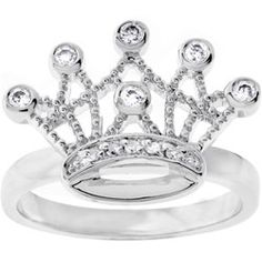 Matches my necklaces tattoo! Michele Mies Silvertone Clear CZ Crown Ring