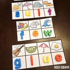 My favorite phonics work station! Kids look at the beginning sound for each picture to build the words and figure out the SECRET WORD - these are for the long u sounds ew ue ui but there are a bunch for every phonics sound