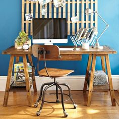 Emerson Sawhorse Desk + Hutch from Pottery Barn Teen House Of Turquoise, Diy Desk, Home Office Desks, New Blue, Blue Walls, My New Room, Interiores Design, Home Projects, Diy Furniture