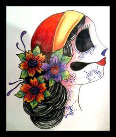 Sugar Skull Tattoo Design by LadyTuesday17.deviantart.com on @DeviantArt