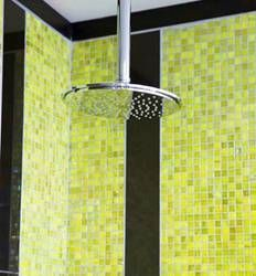 Yellow adds a bit of cheerfulness; make time a happy time with colourful mosaics Shower Time, Mosaics, Design Trends, Showers, Yellow, Happy, Color, Colour, Ser Feliz