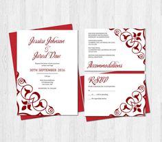wedding invitation set rsvp card accommodations card printable digital