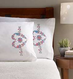 Bucilla ® Stamped Cross Stitch & Embroidery - Smithsonian ® - Pillowcase Pairs - Baltimore Album