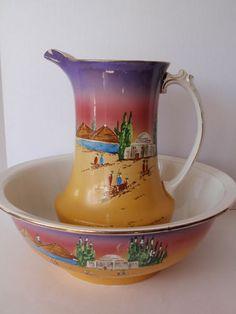 Antique Handpainted Wash Bowl Basin Pitcher NHP England Egypt Pyramids Chamber   eBay