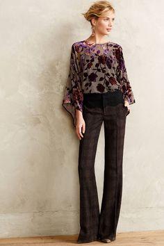 Anthropologie Flecked Brighton Trousers 0, 4, 10, Plaid Wide-Leg Pants Elevenses #Elevenses #DressPants