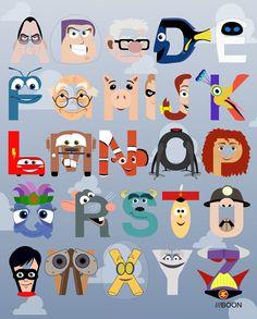 un alfabeto basado en los personajes de las películas y cortometrajes de Pixar.