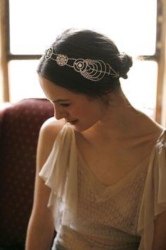 Cosmos Headwrap by Jennifer Behr bridal :: Vintage Dress :: Photography by Belathée :: wedding :: headwrap :: bride :: crystal