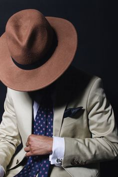 Tan Suit Blue Tie (with pattern) White Shirt Brown Hat [Shot by Cyril Zuma] Blue Ties, Kurt Geiger, Muse, Brown, Hats, Pattern, Shirt, Fashion, Moda