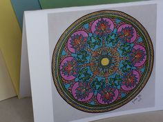 blank greeting all occassion card blue red circle mandala art envelope included choose envelope color and