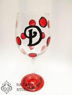 Monogramable Hand Painted Wine Glasses Glitter by savardstudios, $13.00