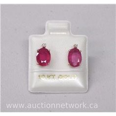 Ladies 10kt Gold Oval Ruby and Diamond Earrings (3.20cts)