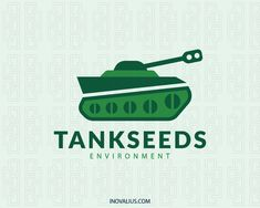 Stylized logo in the shape of a tank composed of abstract shapes in conjunction with seeds with green colors. ( environment, tank, seeds, ecologic, nature, sustainable, leaf, seed, botanic, nature conservation, wildlife conservation, park seed, seedling, seed bank, logo for sale, logo design, logo, lototipo, logotype).
