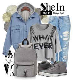 """""""shein"""" by eernaa ❤ liked on Polyvore featuring Universal Lighting and Decor, Topshop, Rebecca Minkoff and Converse"""