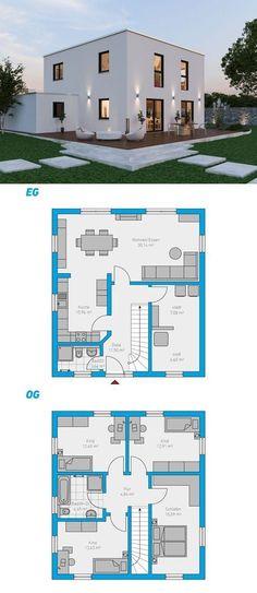 Alea 135 - schlüsselfertiges Massivhaus arquitectura y diseño de arquitectura universidades bedroom ideas decorations gear design tree ideas sketches Modern House Plans, Small House Plans, Modern House Design, House Floor Plans, Building Plans, Building A House, Residential Architecture, Architecture Design, House Blueprints