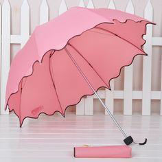 Free shipping Princess ruffle folding scalloped sun protection umbrella-inUmbrellas from Home & Garden on Aliexpress.com