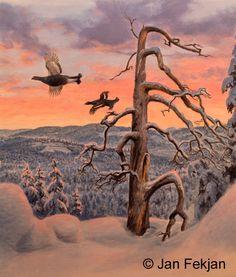 Jan Fekjan: Vintermorgen 1 Living Room Art, Giclee Print, Fine Art, Prints, Artist, Painting, Salon Art, Artists, Painting Art