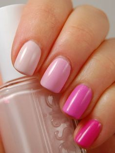"Choose five polishes that are similar in color but vary in saturation -- similar to how a paint swatch looks. Listed from thumb to pinky, the polishes are OPI ""Step Right Up,"" Essie ""Fiji,"" Essie ""Raise Awareness,"" China Glaze ""Dance Baby,"" and OPI ""Shorts Story."""