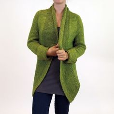 """Katarina Cardigan Kit - priced from $110.00 to $184.00. """"This is the same Katarina pattern that has flattered hundreds of bodies, but this version is nearly seamless. The fronts and back are knitted together from the bottom up to the armholes then set aside. The sleeves are also knitting up to the armholes, then everything is joined, and the set in sleeves are worked seamlessly up to the English Tailored shoulders."""""""