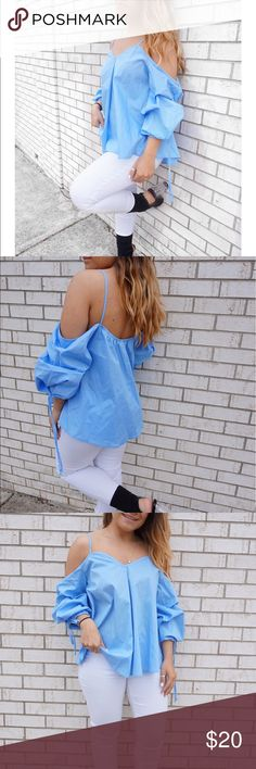 Blue blouse Brand new from my boutique voltageboutique.com model is wearing size small Zara Tops Blouses