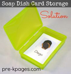 Soap Dish Card Storage Container #preschool #kindergarten