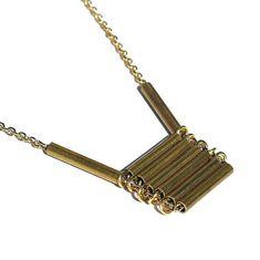 Brass Modern Minimal Necklace Brass Bar Necklace by Tanith on Etsy