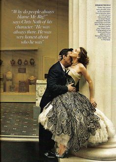 Sara Jessica Parker in Alexander McQueen Lace & Tulle Peacock Dress-US Vogue 2008 by Winter Phoenix
