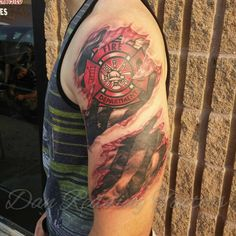 firefighters tattoos and body art ripped skin tattoo the americans Ems Tattoos, Great Tattoos, Black Tattoos, Body Art Tattoos, Tattoos For Guys, Sleeve Tattoos, Tatoos, Hunting Tattoos, Fireman Tattoo
