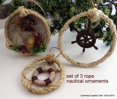 Nautical Rope Oraments Set of 3  Coastal by CarmelasCoastalCraft #coastal christmas #beach ornaments #beach decor