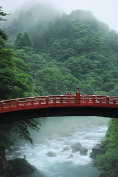 Sacred Shinkyo bridge over the Daiya river, at the Futarasan jinja Shinto shrine, Nikkō, Japan