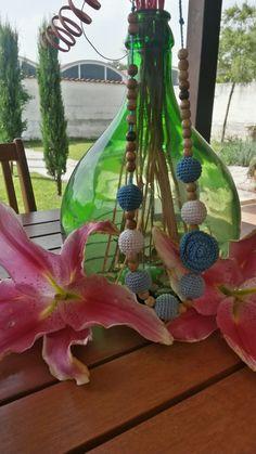 Collana di cotone e filo firmate borseefilati crochet ganchillo knitting uncinetto bijou bigiotteria medaglione collana collar anelli perline di legno naturale grezzo fiore Flower