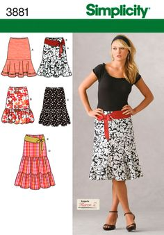 A & B   -   Womens Skirts and Belt Sewing Pattern 3881 Simplicity