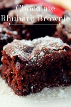 Nadire Atas on Chocolate Desserts Chocolate Rhubarb Brownie Rhubarb Desserts, Rhubarb Cake, Just Desserts, Delicious Desserts, Rhubarb Muffins, Healthy Rhubarb Recipes, Rhubarb Cookies, Rhubarb Bread Pudding, Dairy Free Rhubarb Recipes