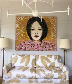 """thescoutguide: """" We're just loving this airy space by Melissa Miles Rufty with this stunning piece by Ashley Longshore Art! """""""