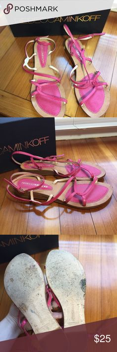 Rebecca minkoff pink beach baby sandals strappy 6 Cute Rebecca in off sandals in good pre-owned condition! Please see photos for wear, mostly on the sole. They are a 6 but could probably also fit a 6.5. Great color for summer! Rebecca Minkoff Shoes Sandals