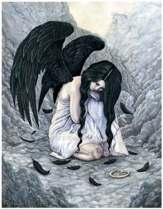 Broken Halo 85 x 11 Print Fallen Angel Sorrow Sad by ElvenstarArt, $14.95