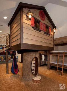 Kids indoor playhouse Design Ideas, Pictures, Remodel and Decor. I would be the best mom ever if I put this in their room! Indoor Playroom, Kids Indoor Playhouse, Build A Playhouse, Wooden Playhouse, Indoor Playground, Playhouse Ideas, Indoor Forts, Outdoor Playhouses, Salt Lake City