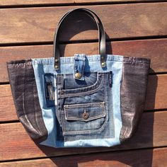 Jeans Petite, Urban Bags, Recycling, Denim Bag, Balenciaga City Bag, Tote Purse, Handmade Bags, Purses And Bags, Pouch