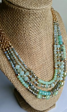 Sea Foam, Mint and Gold Beaded Multi-Strand Necklace Set