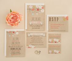 Wedding Invitation Suite DEPOSIT DIY Rustic von SplashOfSilver