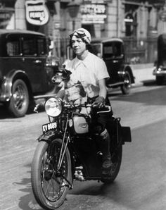 32 Badass Vintage Photographs Of Women And Motorcycles Nancy Debenham setting off for a motorcycle rally in England, 1934.