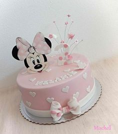 Minnie Mouse cake by Mischell Minni Mouse Cake, Bolo Do Mickey Mouse, Bolo Minnie, Mickey Mouse Cupcakes, Mickey Cakes, Minnie Mouse Cake Topper, Mickey And Minnie Cake, Pink Minnie, Mini Mouse Birthday Cake