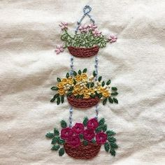 Embroidered Hanging Basket.