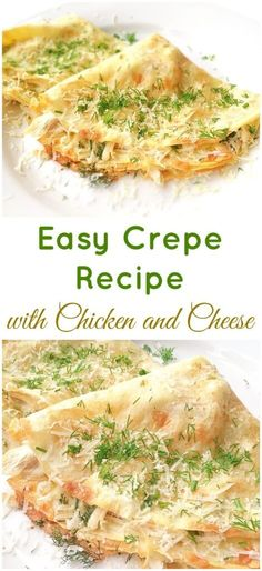 Filled with a mixture of chicken and cheese, this easy crepe recipe will make a great lunch or dinner. A perfect way to use up some chicken leftovers.